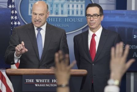 White House news conference with US Treasury Secretary Steven Mnuchin and National Economic Director Gary Cohn, Washington, USA - 26 Apr 2017